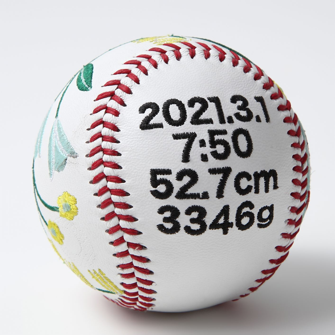 誕生記念・出産祝いボール 【タイプ2】 硬式野球ボールサイズ 刺繍ボール 記念ボール 命名 名入れ可 オーダーメイド プレゼント 贈答品 贈り物 友人へ