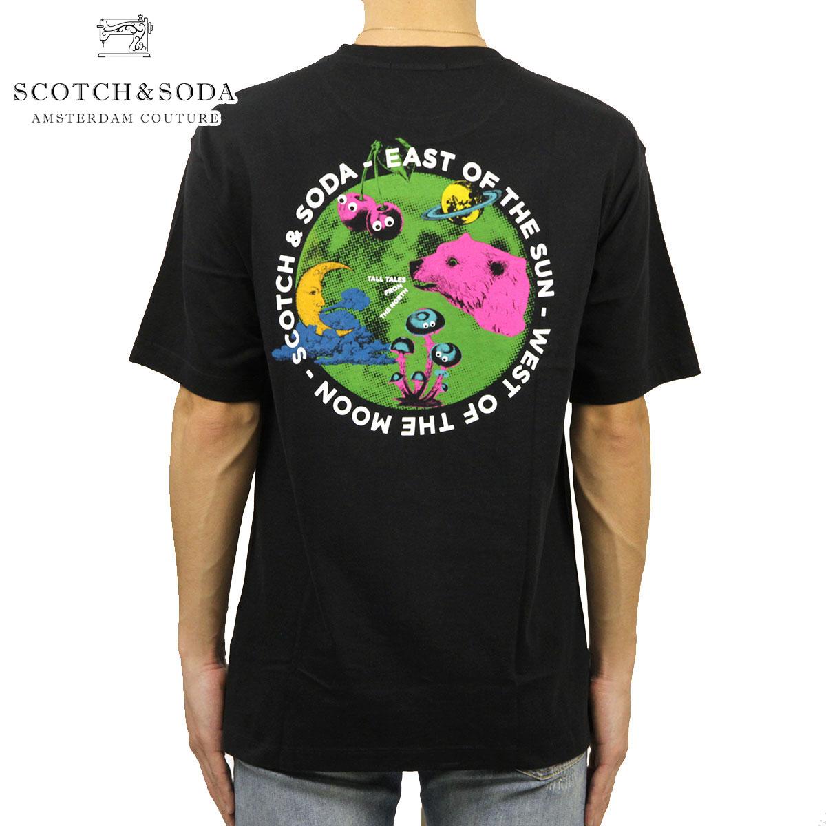 スコッチアンドソーダ Tシャツ メンズ 正規販売店 SCOTCH&SODA クルーネック半袖Tシャツ オーバーサイズTシャツ ビッグシルエット STREETWEAR-INSPIRED OVERSIZED ARTWORK TEE M 158549 0008 24433 08 BLACK A39B B1C C1D D1E E13F