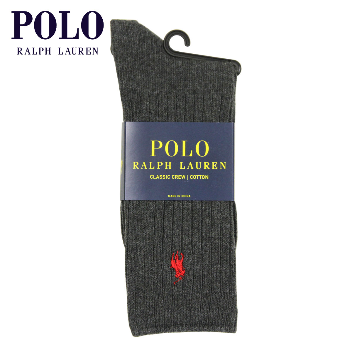 ポロ ラルフローレン POLO RALPH LAUREN 正規品 ソックス COTTON RIB SINGLE SOCK CHAR.H 011 - CHARCOAL HEATHER A05B B1C C3D D1E E02F SSS