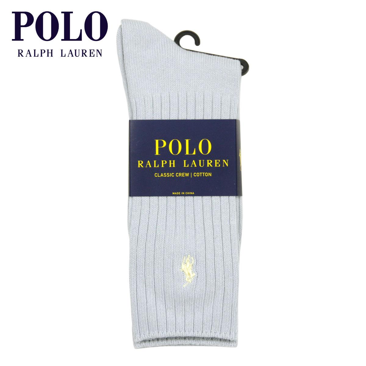 ポロ ラルフローレン 靴下 メンズ 正規品 POLO RALPH LAUREN クルー丈 ビジネスソックス ワンポイント刺繍 COTTON RIB SINGLE SOCK SOFT BLUE463 - SOFT BLUE A05B B1C C7D D1E E07F