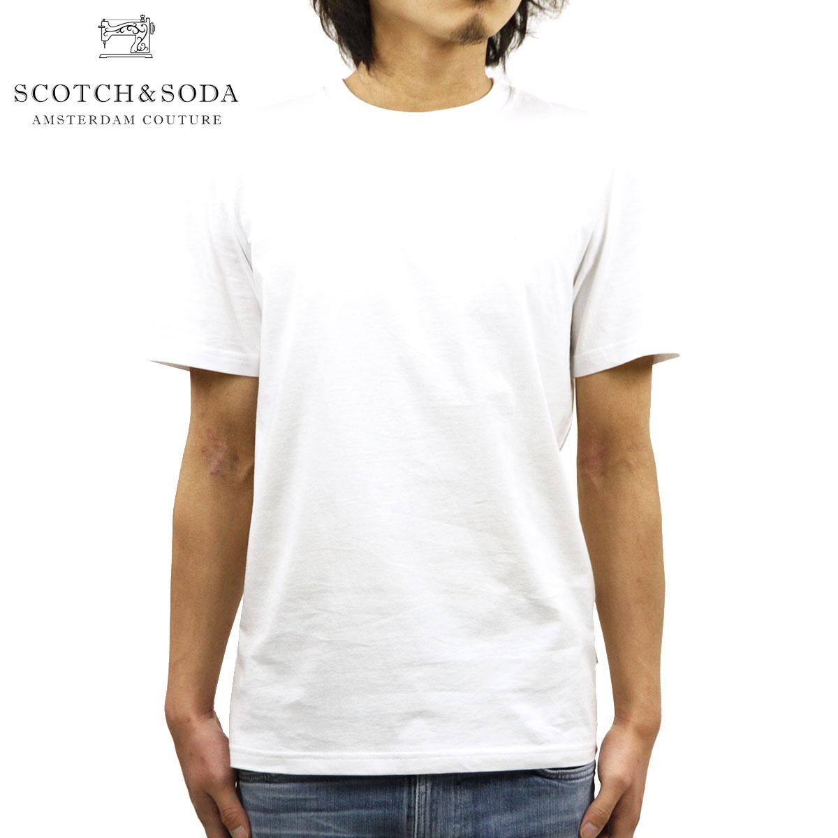スコッチアンドソーダ Tシャツ 正規販売店 SCOTCH&SODA 半袖Tシャツ クルーネックTシャツ BASIC NOS WIDER NECK COTTON TEE 153657 00 WHITE A39B B1C C1D D1E E01F