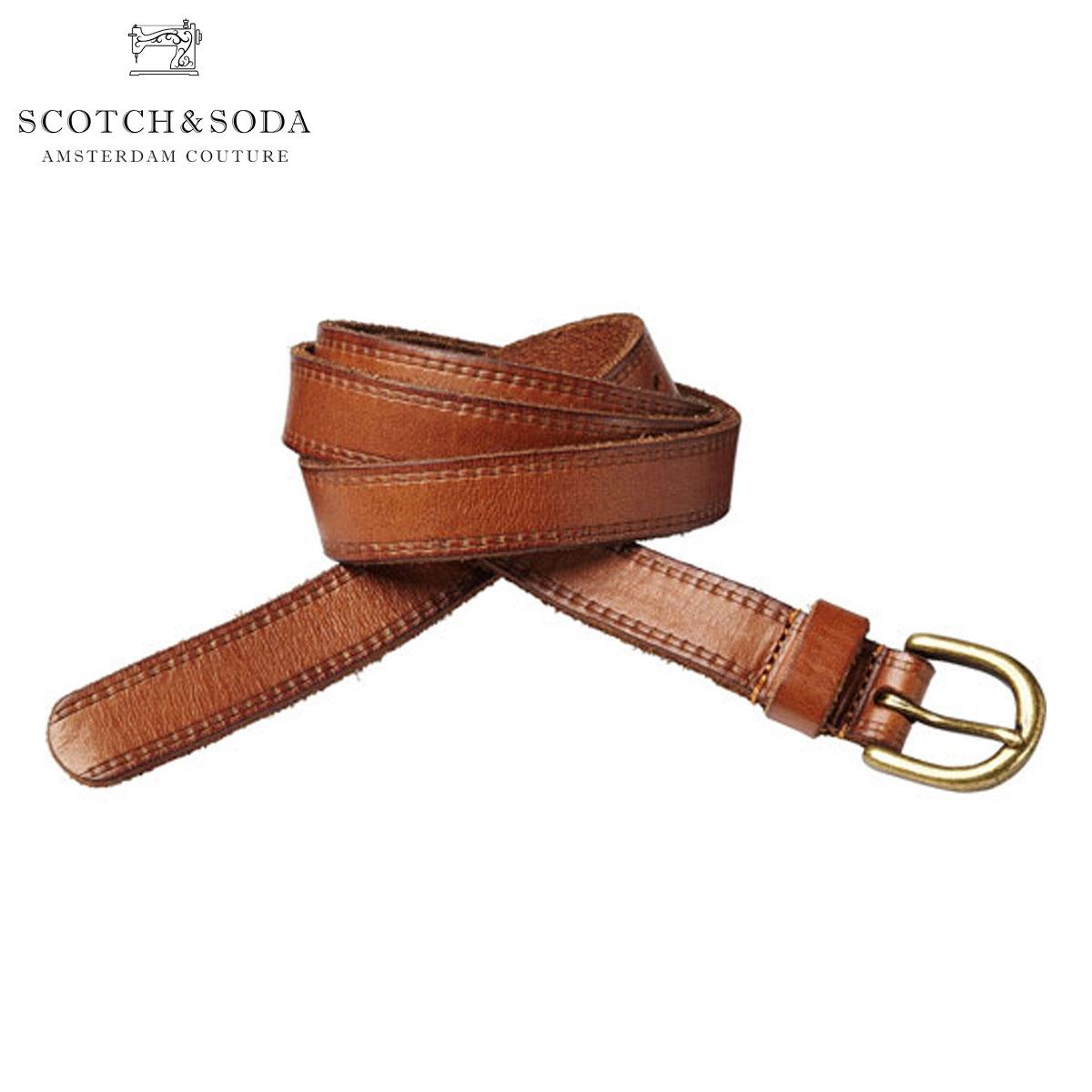 スコッチアンドソーダ ベルト 正規販売店 SCOTCH&SODA  Leather belt with print along edge 76163 82 A39B B1C C3D D6E E04F