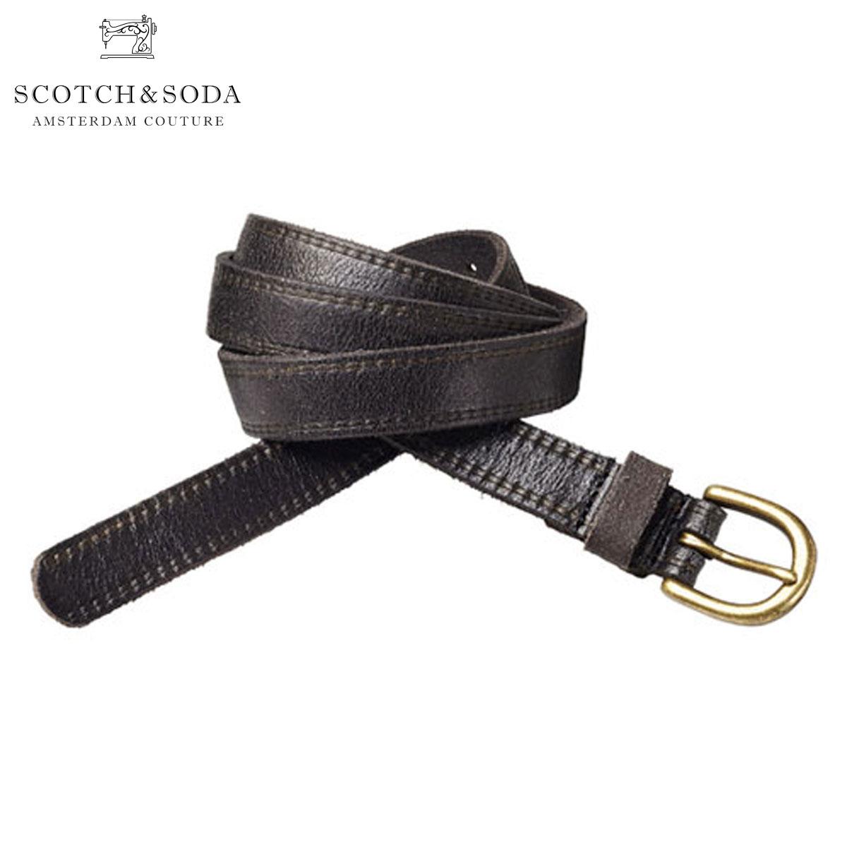スコッチアンドソーダ ベルト 正規販売店 SCOTCH&SODA  Leather belt with print along edge 76163 90 A39B B1C C3D D6E E13F