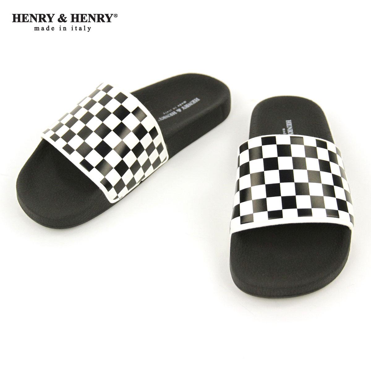 ヘンリーアンドヘンリー HENRY&HENRY 正規販売店 サンダル シャワーサンダル 180 CHECKER SHOWER SANDAL BIANCO BLACK WHITE CHECKER BLACK SOLE A66B B3C C4D D3E E13F