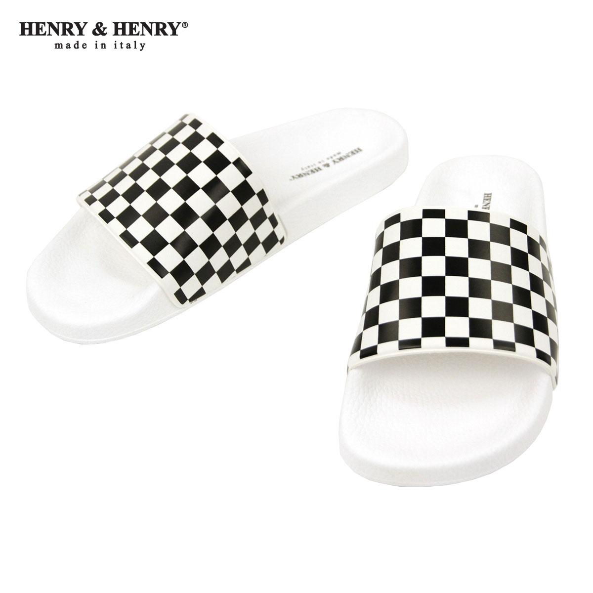 ヘンリーアンドヘンリー HENRY&HENRY 正規販売店 サンダル シャワーサンダル 180 CHECKER SHOWER SANDAL BIANCO BLACK WHITE CHECKER WHITE SOLE A66B B3C C4D D3E E01F