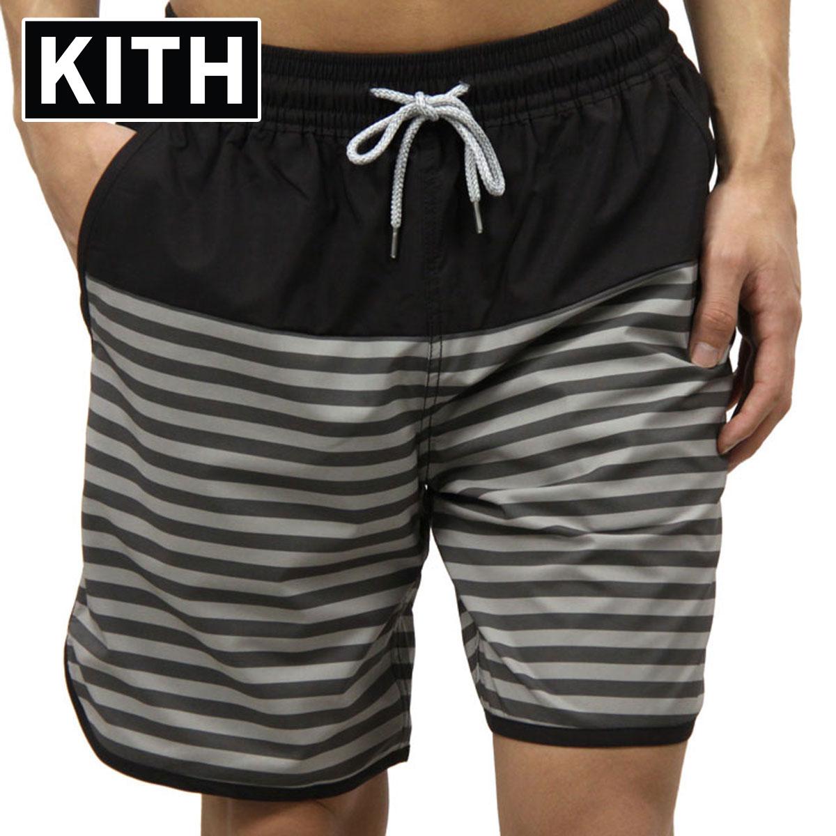 キス 水着 メンズ 正規品 KITH スイムパンツ  KITH ROCKAWAY SHORT KH7002-100 BLACK / WHITE A95B B1C C2D D7E E02F