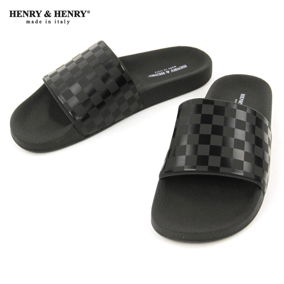 ヘンリーアンドヘンリー HENRY&HENRY 正規販売店 サンダル シャワーサンダル 180 CHECKER SHOWER SANDAL BLACK CHECKER BLACK SOLE A66B B3C C4D D3E E13F