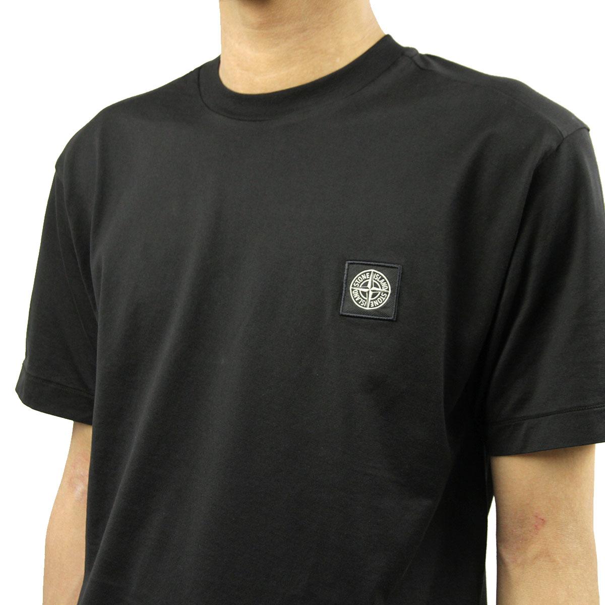 ストーンアイランド Tシャツ メンズ 正規品 STONE ISLAND 半袖Tシャツ T-SHIRT BLACK NERO 24113 V0029 AB4B B1C C1D D1E E13F