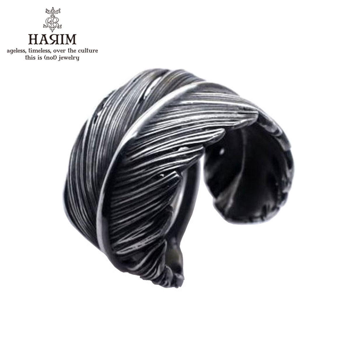 ハリム HARIM 正規販売店 指輪 リング HARIM FEATHER RING L HRR036SV SILVER 925 OXIDIZED BLACK A82B B3C C3D D8E E32F