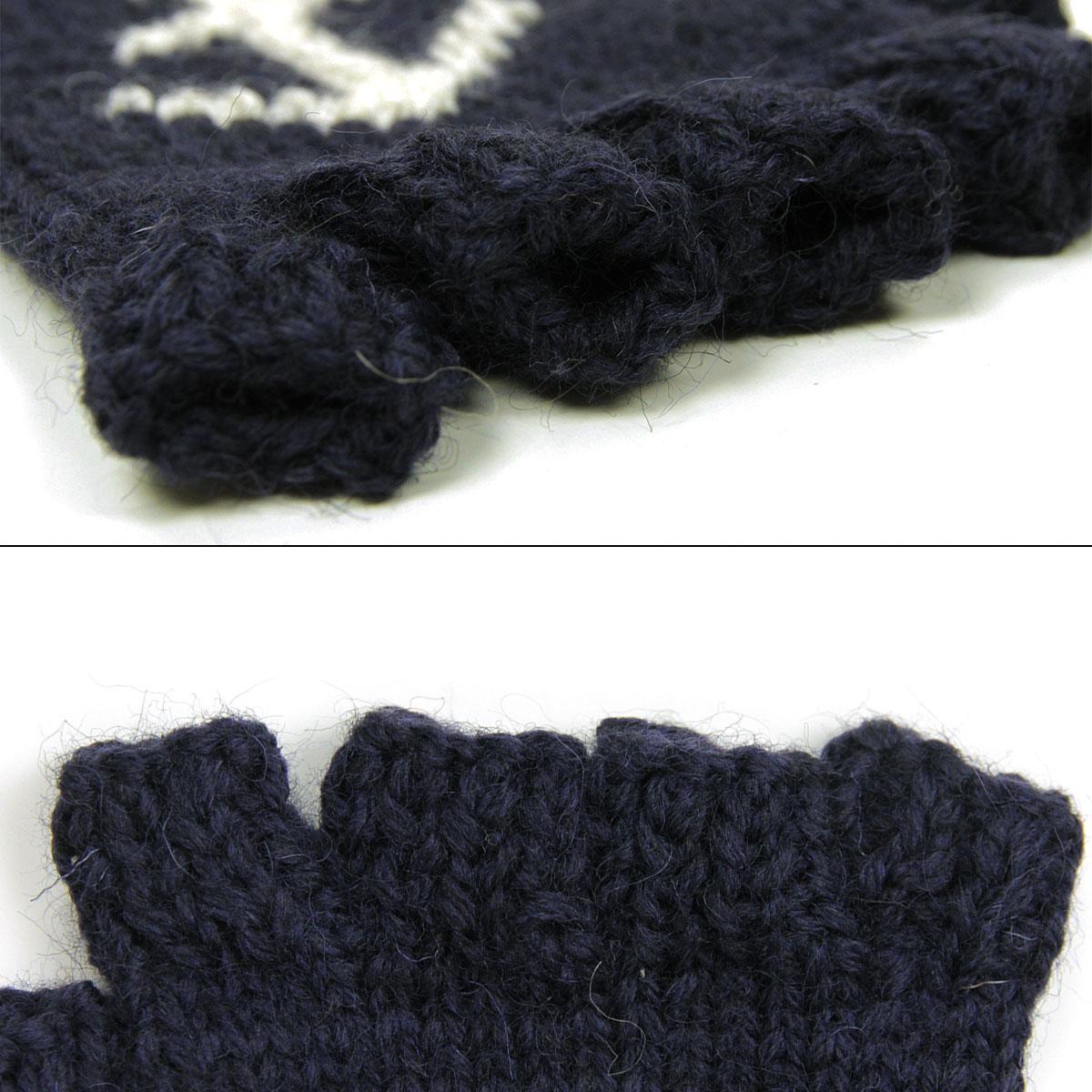 ブラックシープ BLACK SHEEP 正規販売店 メンズ 手袋 BLACK SHEEP HANDMADE FINGERLESS KNIT GLOVE SM08B NAVY×ECRU×ANCHOR A87B B1C C3D D0E E00F