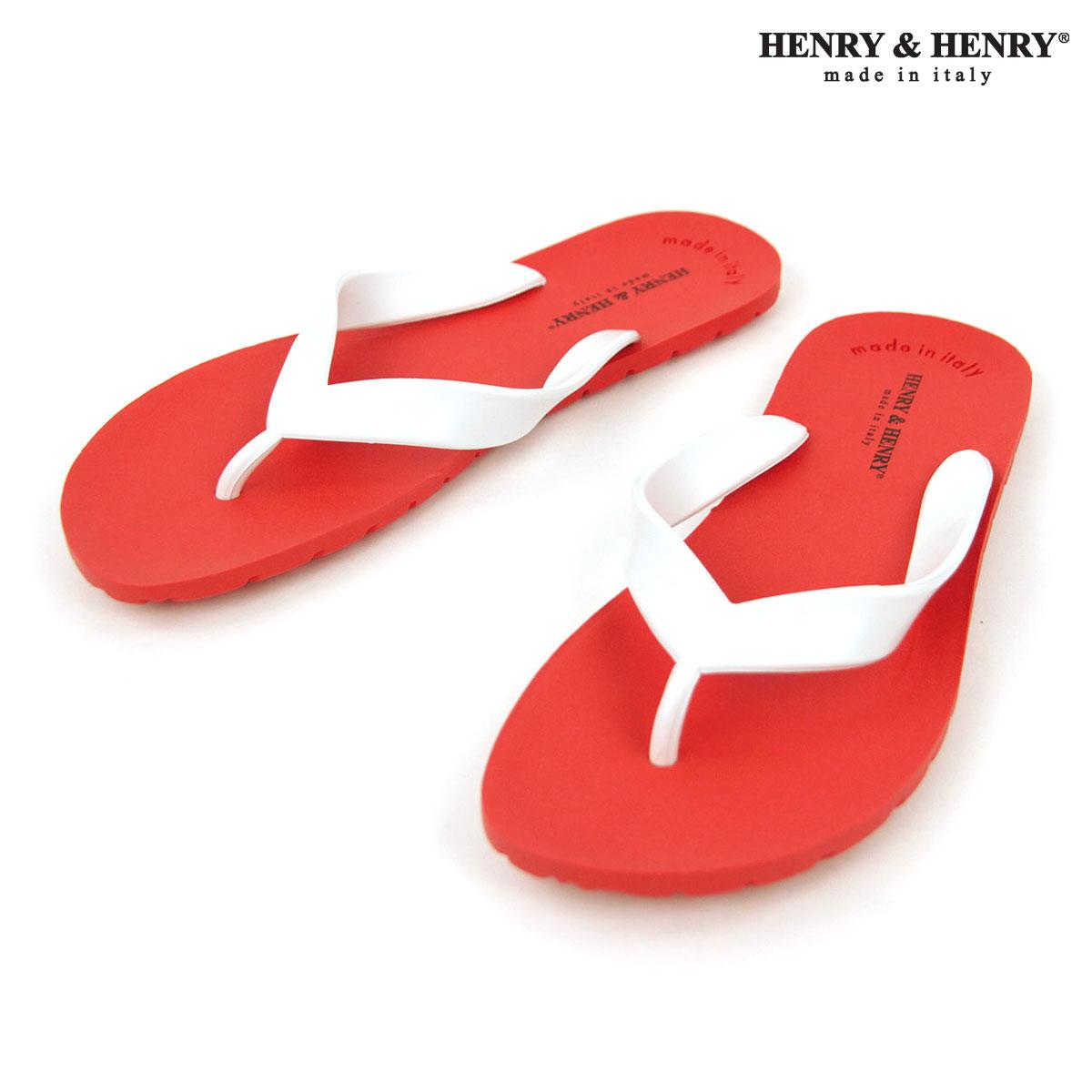 ヘンリーアンドヘンリー サンダル メンズ レディース 正規販売店 HENRY&HENRY トングサンダル ビーチサンダル フリッパー FRIPPER SANDAL ROSSO / BIANCO 17/31 A66B B3C C4D D3E E11F