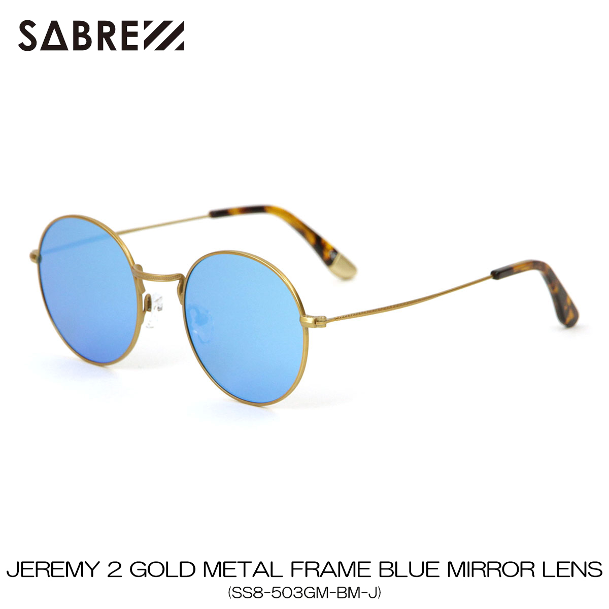 セイバー SABRE 正規販売店 サングラス めがね JEREMY 2 GOLD METAL FRAME BLUE MIRROR LENS SUNGLASS SS8-503GM-BM-J A55B B3C C3D D1E E13F