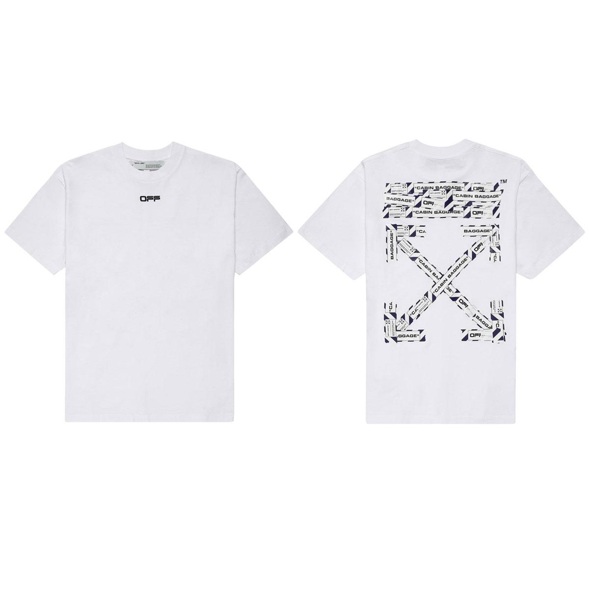 オフホワイト Tシャツ メンズ 正規品 OFF-WHITE 半袖Tシャツ クルーネックTシャツ AIRPORT TAPE S/S OVER TEE WHITE MULTICOL OMAA038S201850030188 AB3B B1C C1D D1E E01F