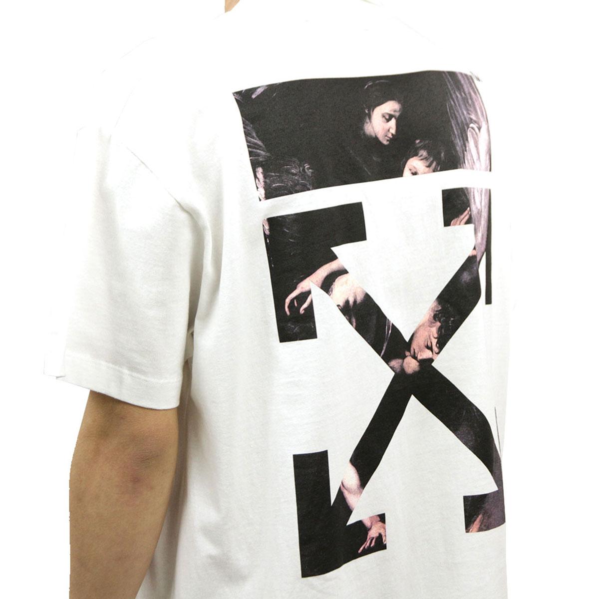 オフホワイト Tシャツ メンズ 正規品 OFF-WHITE 半袖Tシャツ クルーネックTシャツ CARAVAGGIO ARROW S/S OVER TEE WHITE MULT OMAA038S201850040188 AB3B B1C C1D D1E E01F