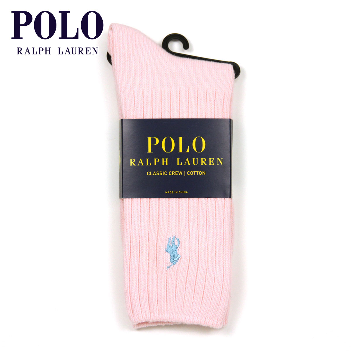 ポロ ラルフローレン ソックス メンズ 正規品 POLO RALPH LAUREN 靴下 クルーソックス COTTON RIB SINGLE SOCK PINK - LIGHT BLUE 696 - SOFT PINK A05B B1C C7D D1E E11F