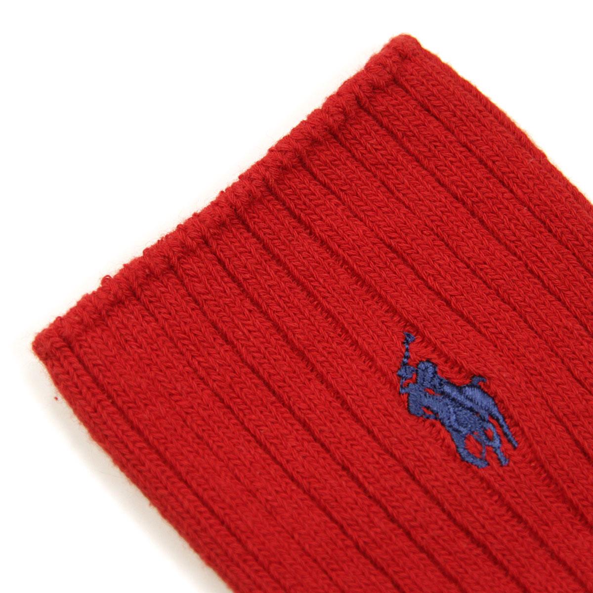 ポロ ラルフローレン ソックス メンズ 正規品 POLO RALPH LAUREN 靴下 クルーソックス COTTON RIB SINGLE SOCK RED - NAVY 601 - RED A05B B1C C7D D1E E11F
