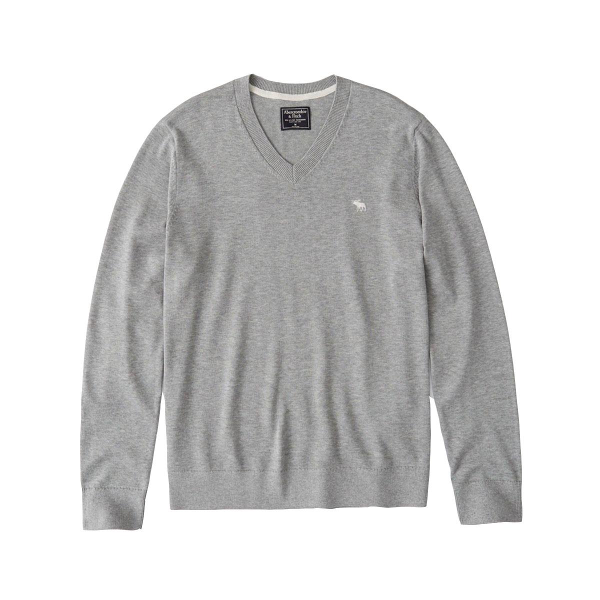 アバクロ セーター メンズ 正規品 Abercrombie&Fitch Vネックセーター ワンポイントロゴ  THE A&F ICON V-NECK SWEATER 120-201-1574-110 A02B B1C C1D D7E E02F