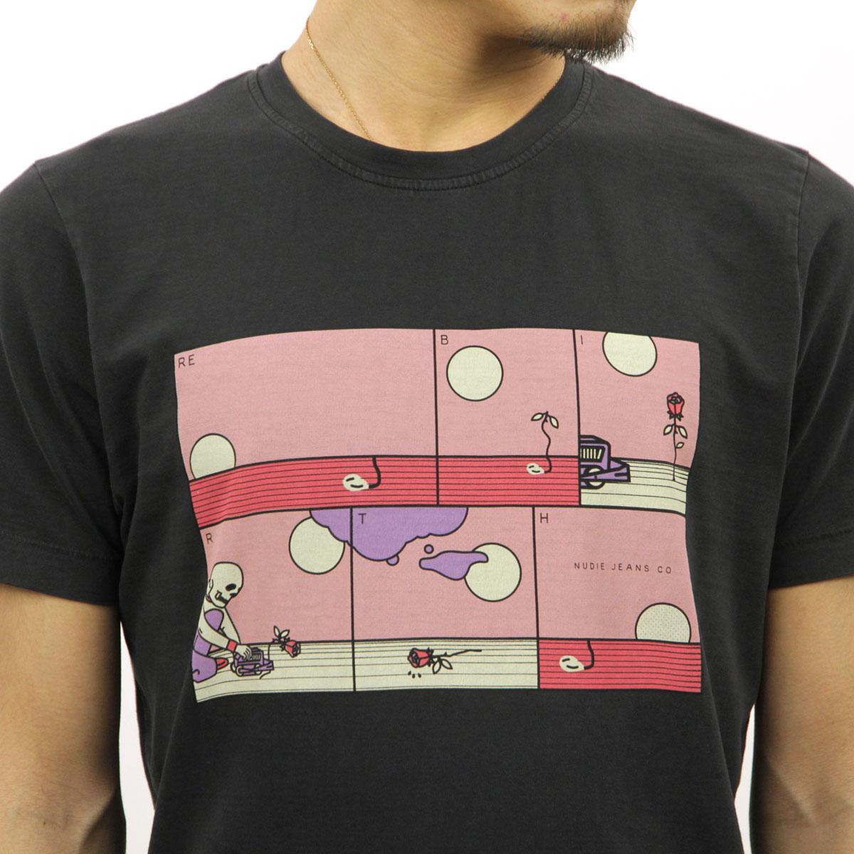 ヌーディージーンズ Tシャツ 正規販売店 Nudie Jeans 半袖Tシャツ ROY CREW TEE SHIRT REBIRTH BLACK B01 131694 4039 A62B B1C C1D D1E E13F