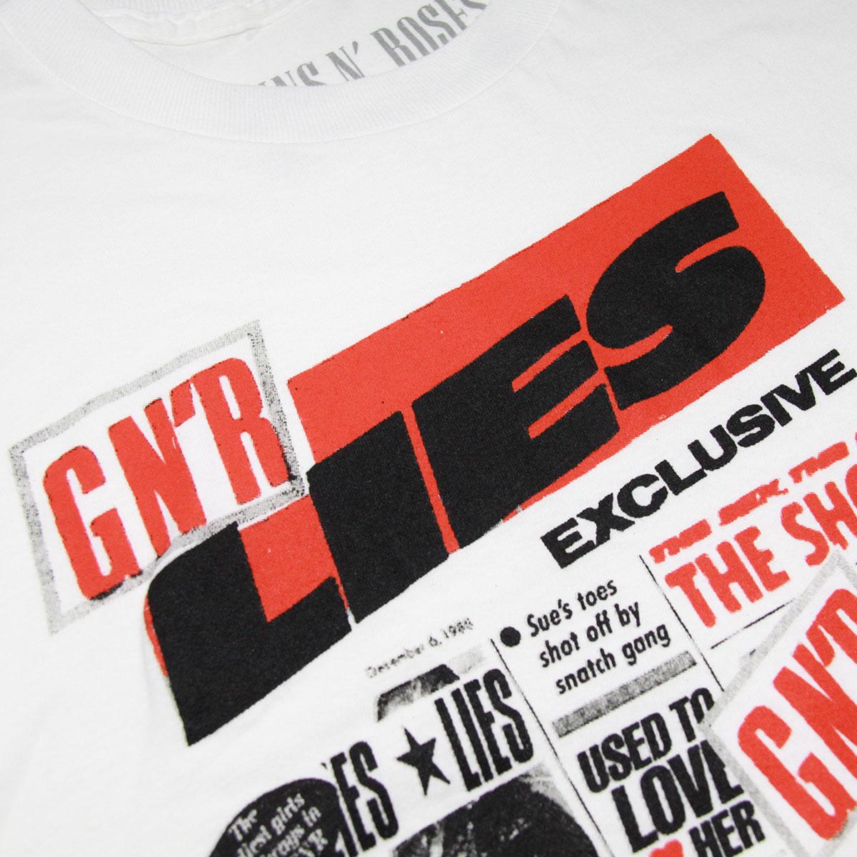 ミュージックティ バンドTシャツ メンズ 正規品 MUSIC TEE ロックTシャツ 半袖Tシャツ ガンズ・アンド・ローゼズ GUNS N' ROSES LIES MUSIC TEE AB5B B1C C1D D1E E01F