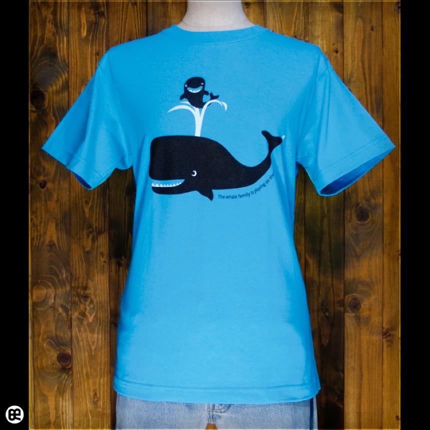 クジラの親子:カリビアンブルー:Tシャツ