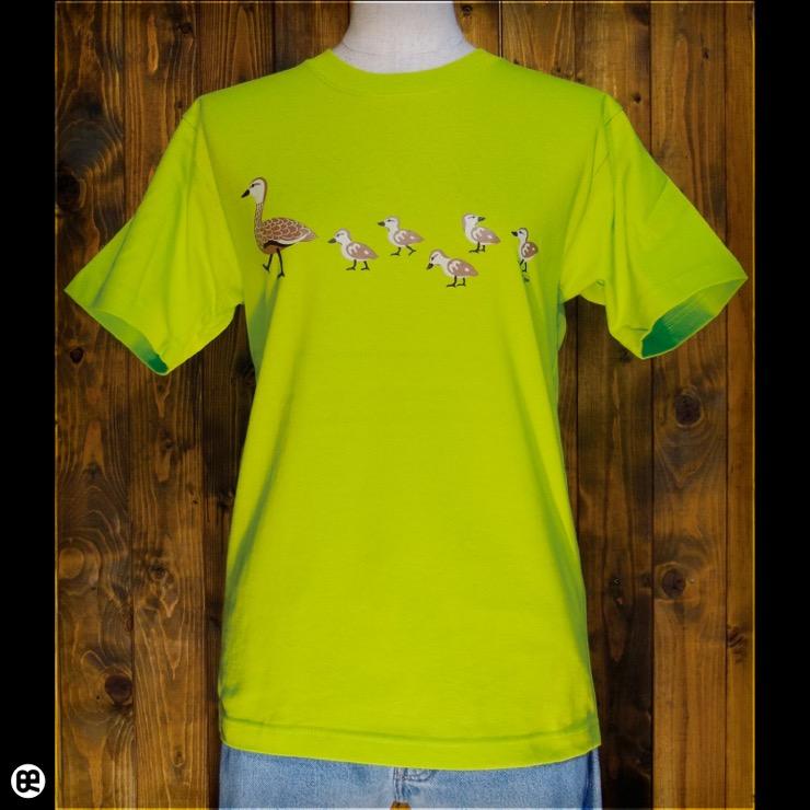 カルガモ親子:ネオングリーン:Tシャツ