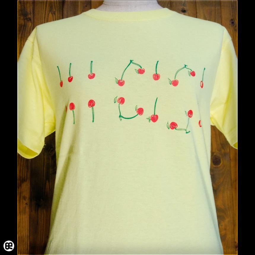 さくらんぼ:レモンイエロー:Tシャツ