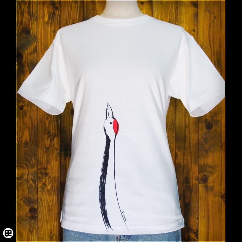 鶴 : ホワイト:Tシャツ