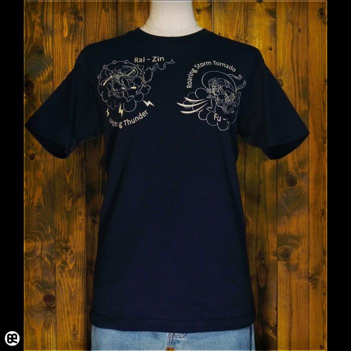 風神雷神 : ネイビー:Tシャツ