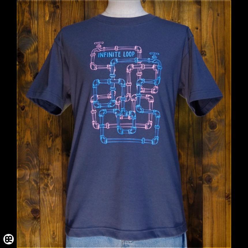 無限ループ:ダークグレー:Tシャツ