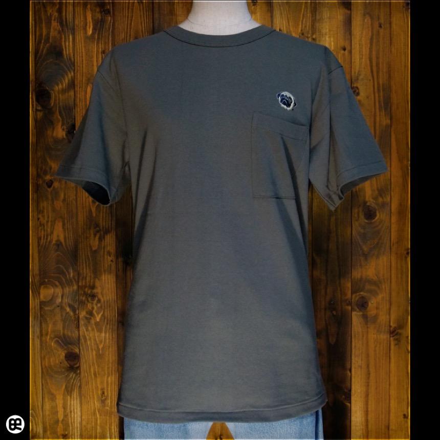 パグ:アーミーグリーン:ポケ付きTシャツ