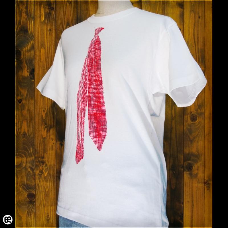 ネクタイ2(エンジ) : ホワイト:Tシャツ