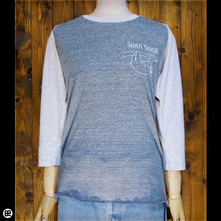ラグラン7分袖T : Sloth Sneak : HGY×OML:裾は縁かがり縫い