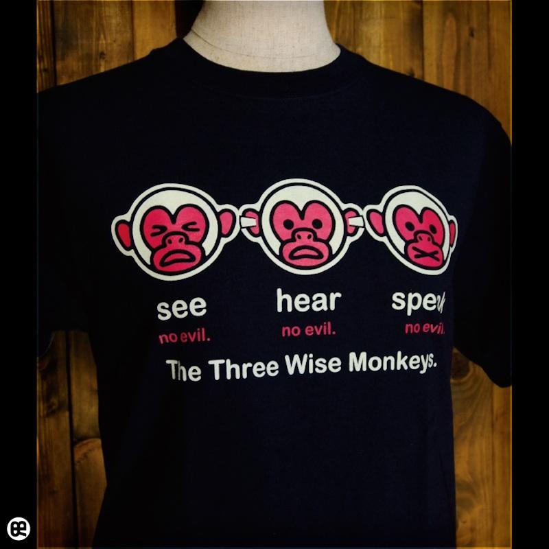 ThreeMonkey : ネイビー:Tシャツ