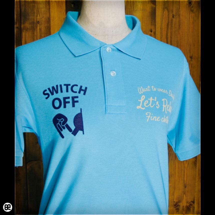 ポロシャツ:Switch Off : アクアブルー
