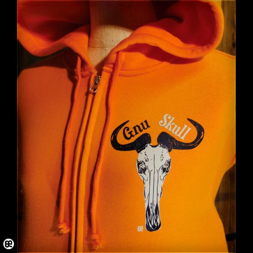 ZIPパーカー:厚地裏起毛:Gnu:オレンジ