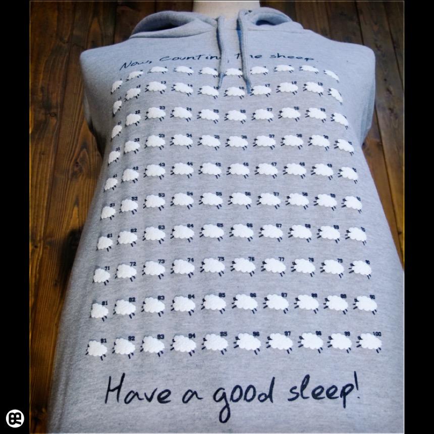 プルパーカー:ポケットレス10oz:Sleep Sheep:杢グレー