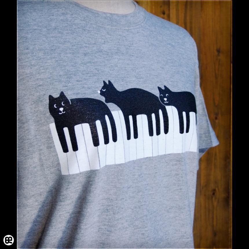 ピアネコ:ヘザーグレー:Tシャツ
