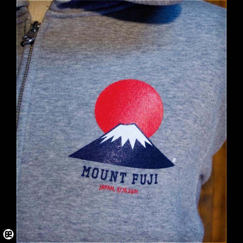 ジップパーカー:厚地裏起毛:富士山 : ヘザーグレー