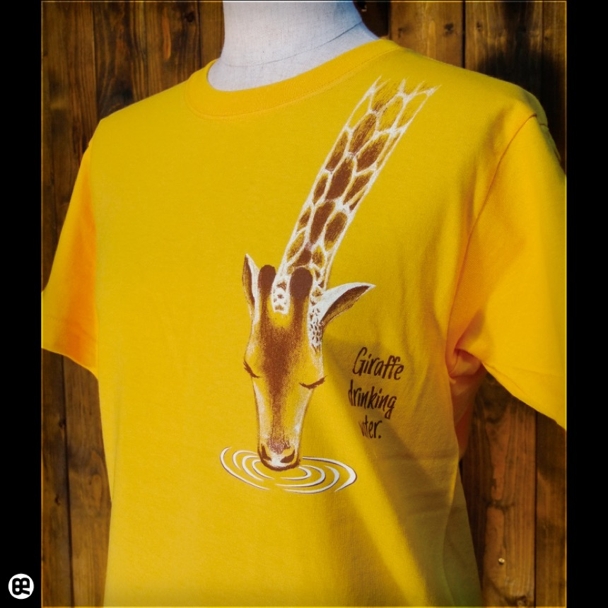 水のみキリン:ゴールドイエロー:Tシャツ