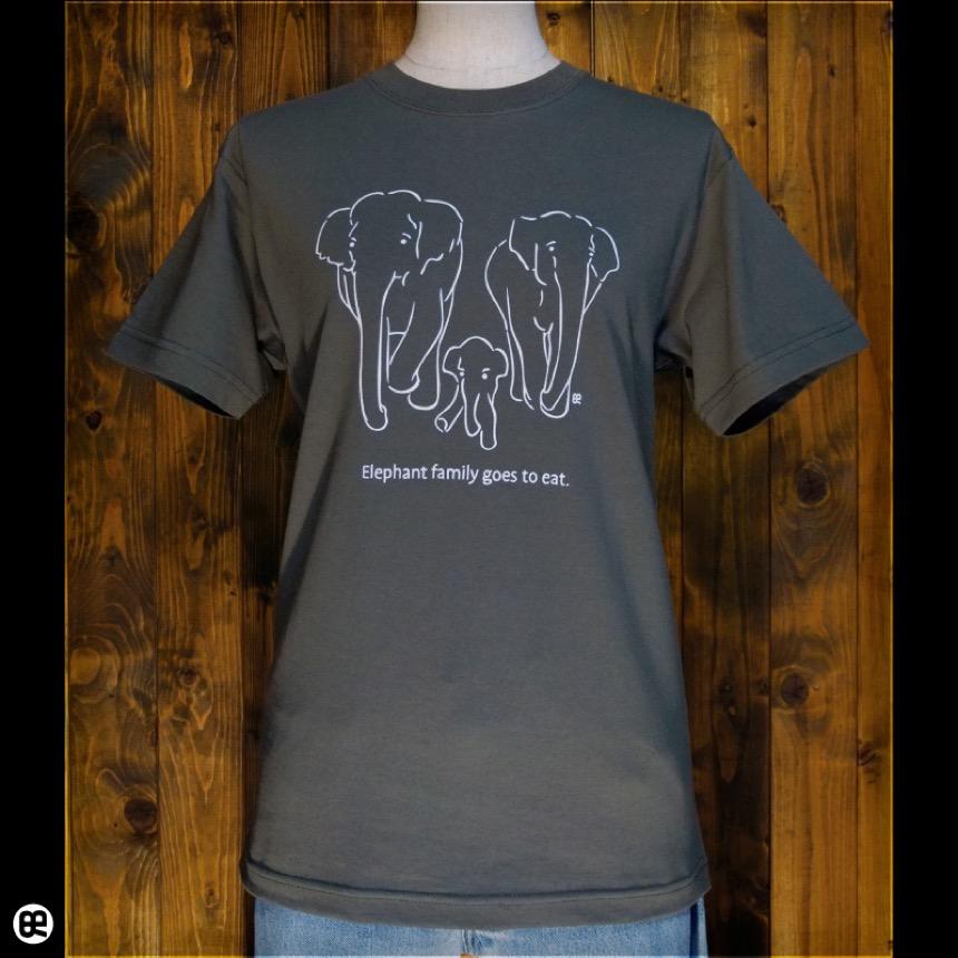 ぞうの親子:アーミーグリーン:Tシャツ