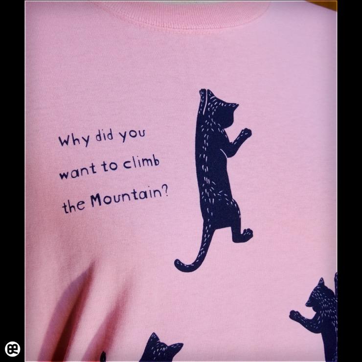 猫クライマー2:ピンク:Tシャツ