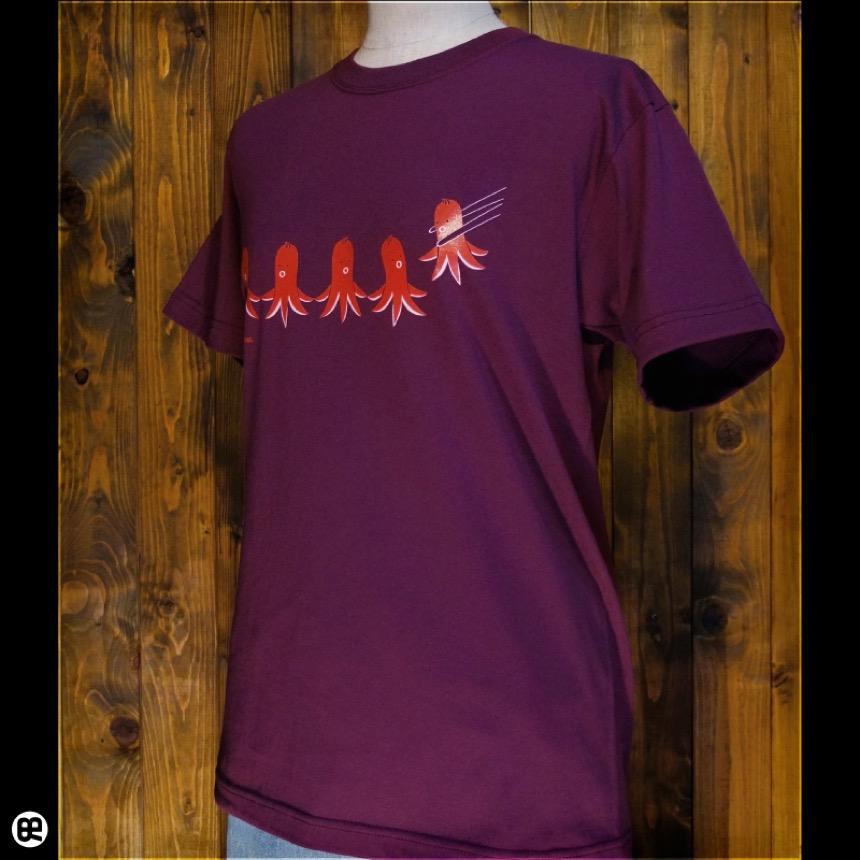 タコさんウィンナー:バーガンディ:Tシャツ