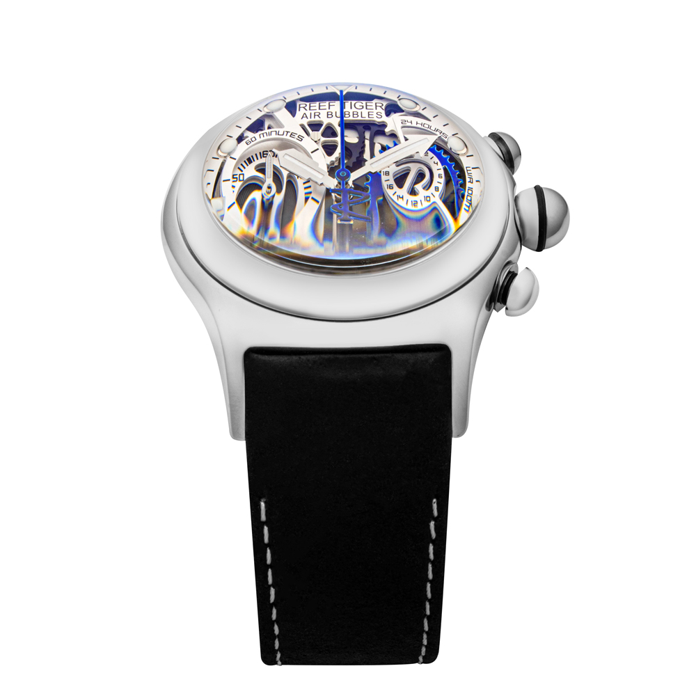 【REEF TIGER】 クォーツ式のスケルトン腕時計 リーフタイガーRGA792YLB