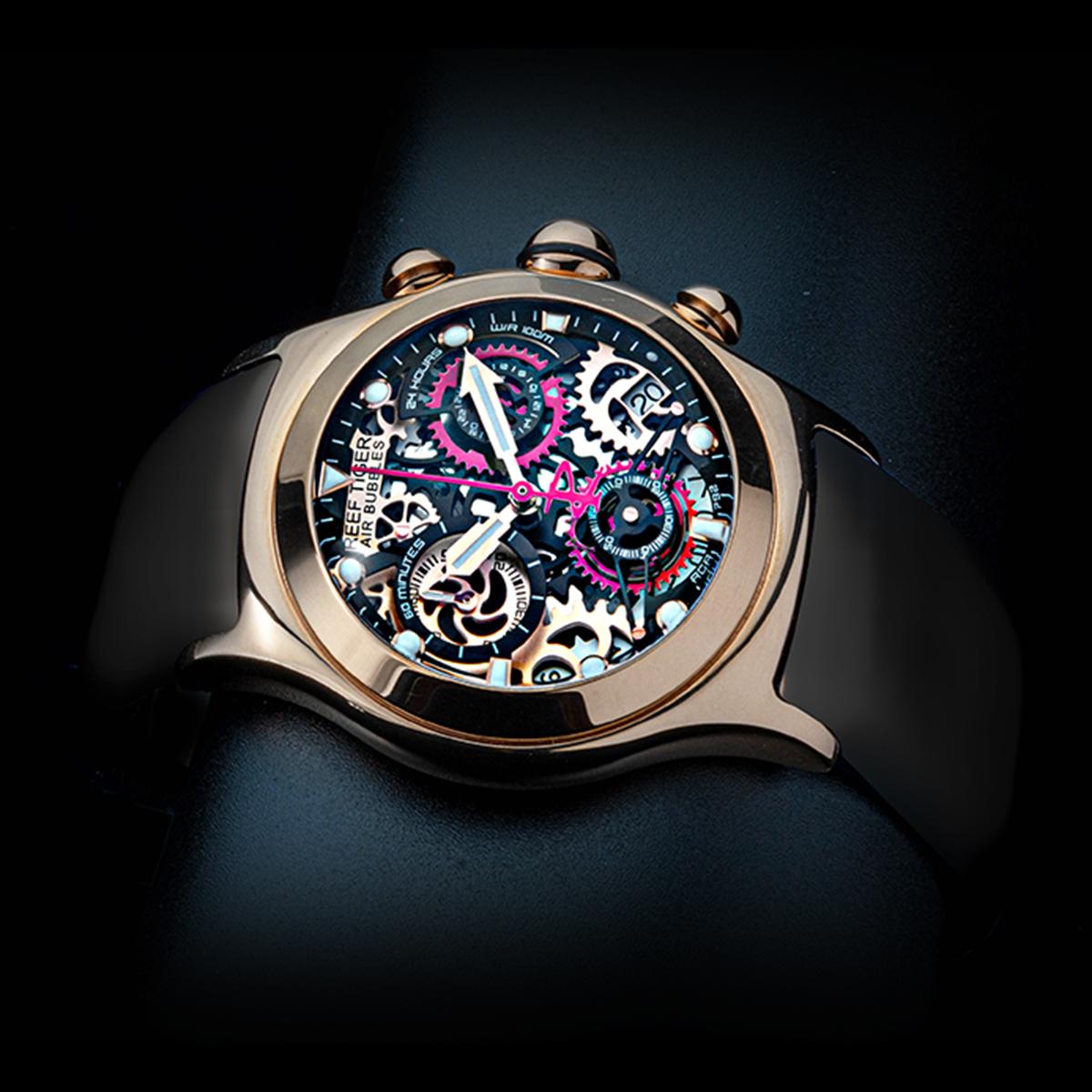 クォーツ式スケルトン腕時計【REEF TIGER】 幻想的な球面ガラス  RGA792PBBR ピンクゴールド