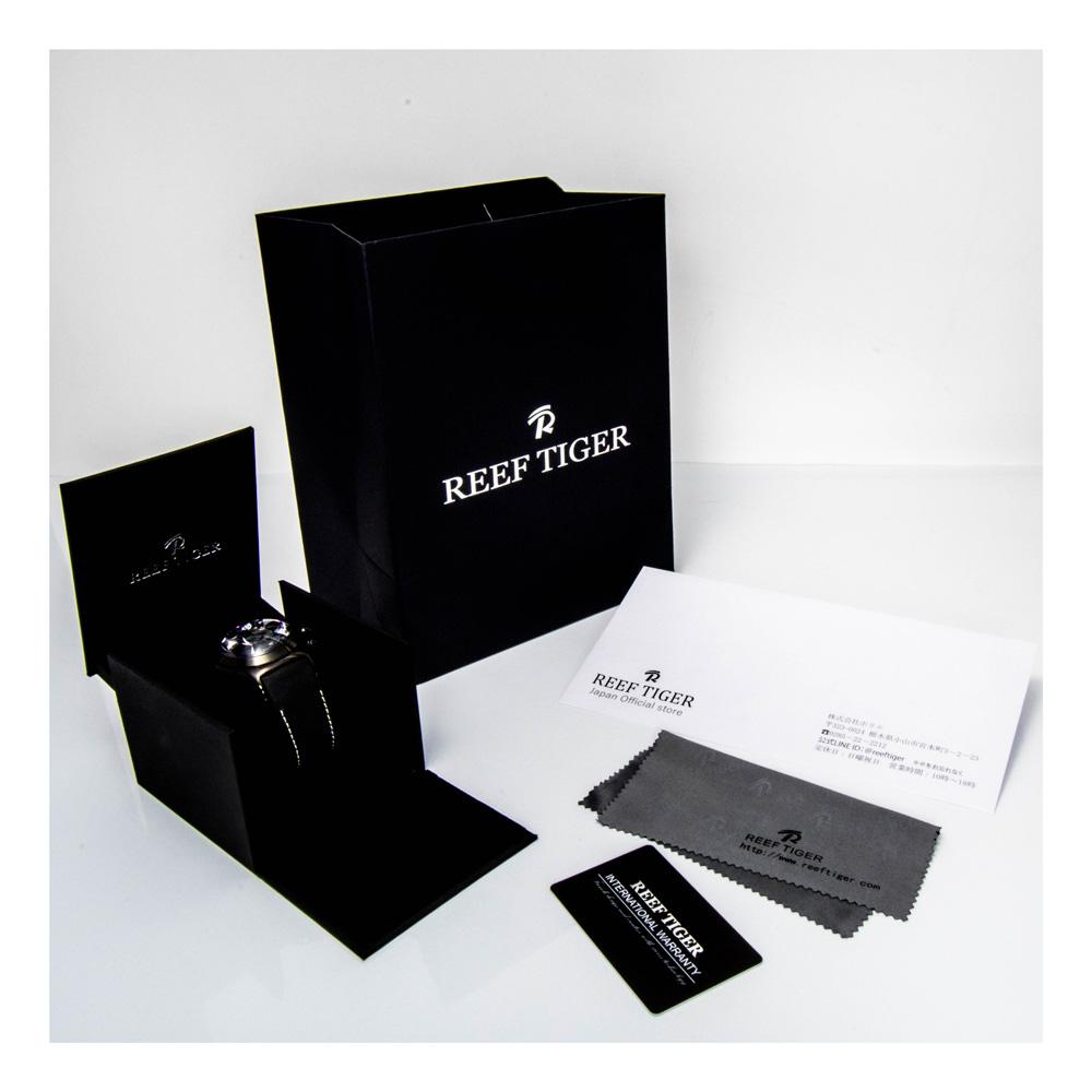 クォーツ式のスケルトン腕時計【REEF TIGER】幻想的な球面ガラス オールブラック リーフタイガー RGA792BBB