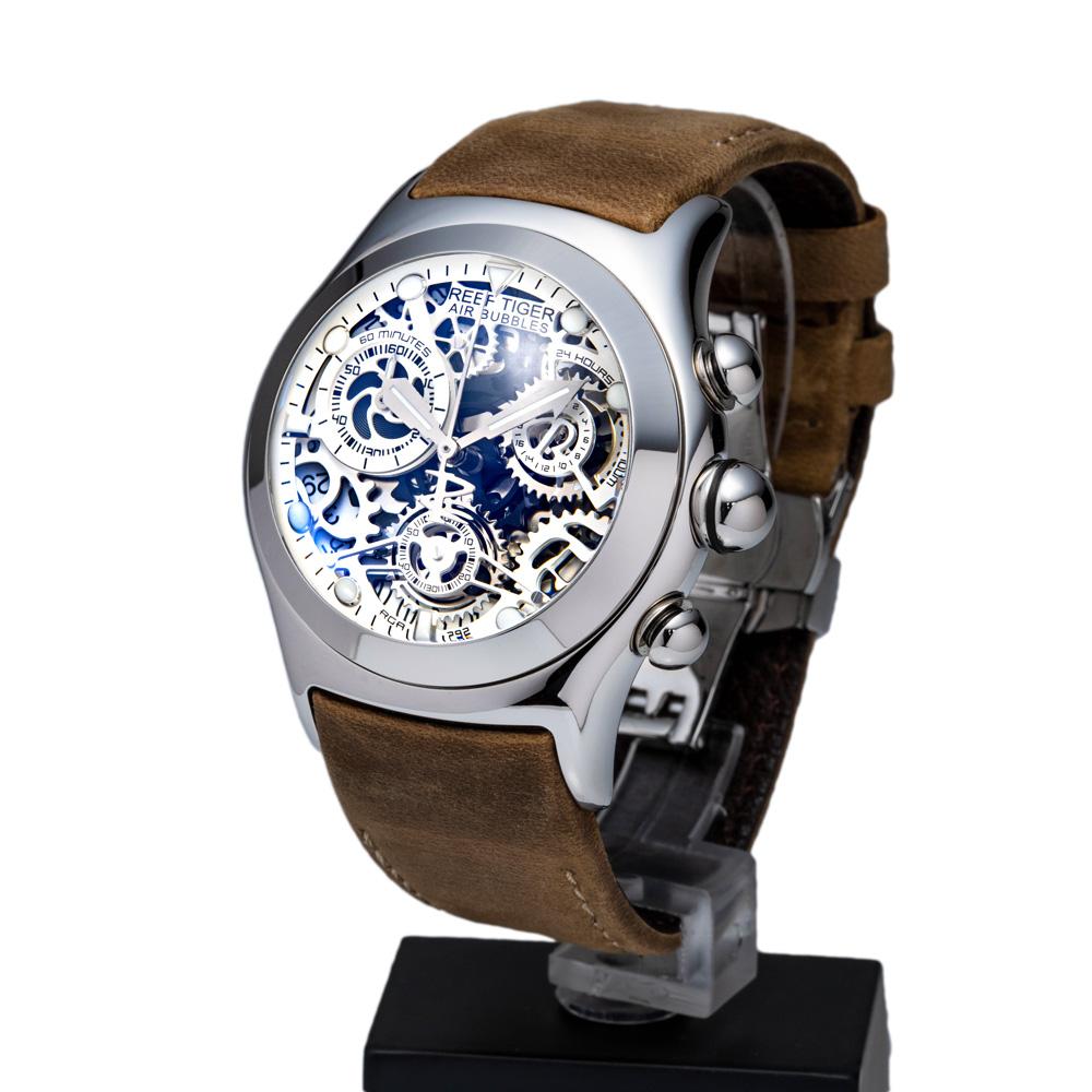 クォーツ式のスケルトン腕時計 【REEF TIGER】幻想的な球面ガラス リーフタイガーRGA792YWS