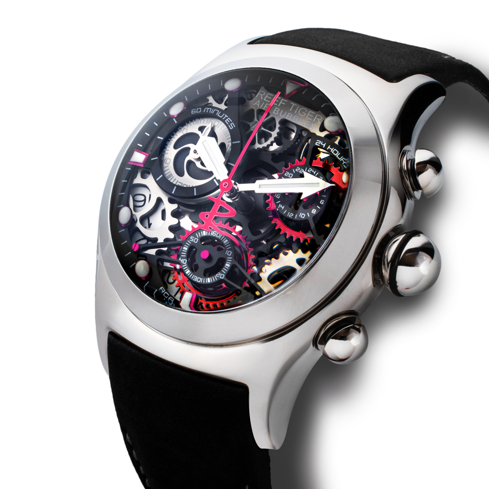 【REEF TIGER】 クォーツ式のスケルトン腕時計 リーフタイガーRGA792YBB