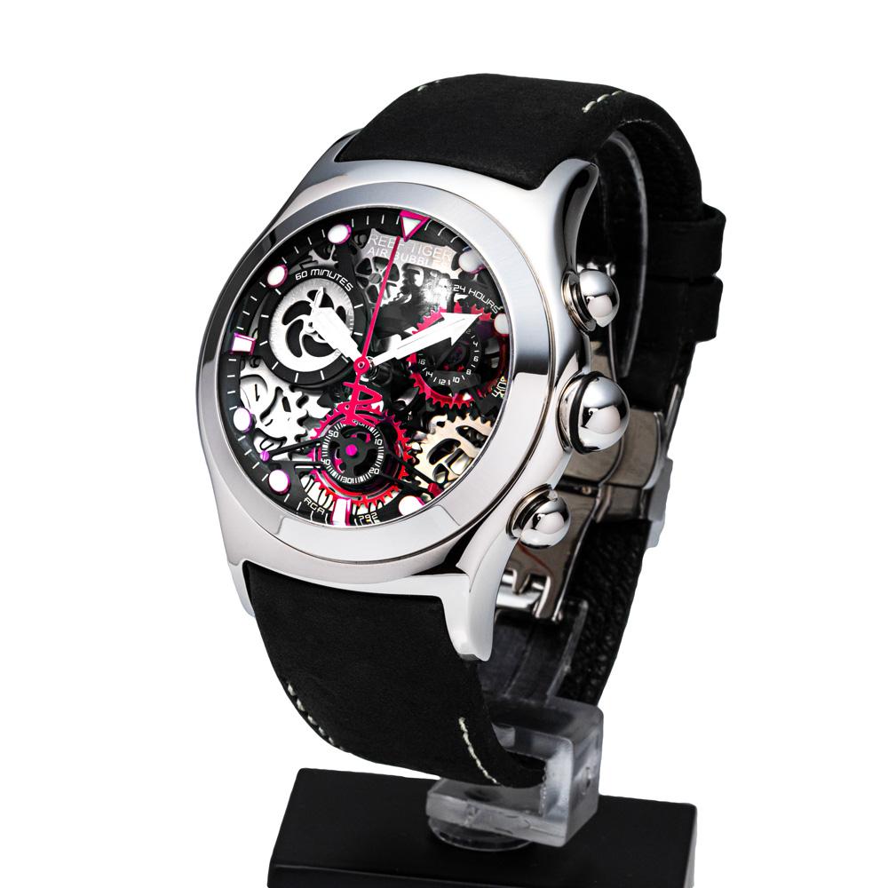 クォーツ式のスケルトン腕時計【REEF TIGER】幻想的な球面ガラス リーフタイガーRGA792YBB