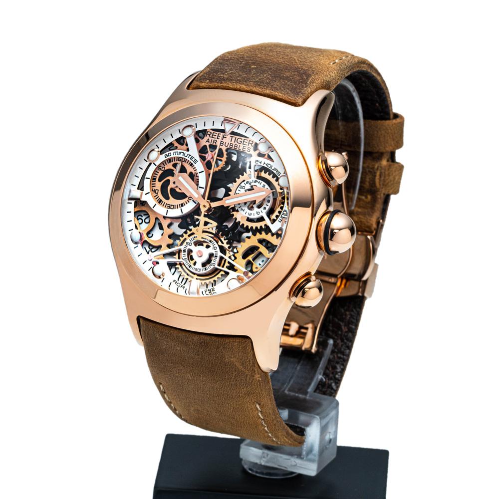 クォーツ式のスケルトン腕時計【REEF TIGER】幻想的な球面ガラス リーフタイガーRGA792PWS