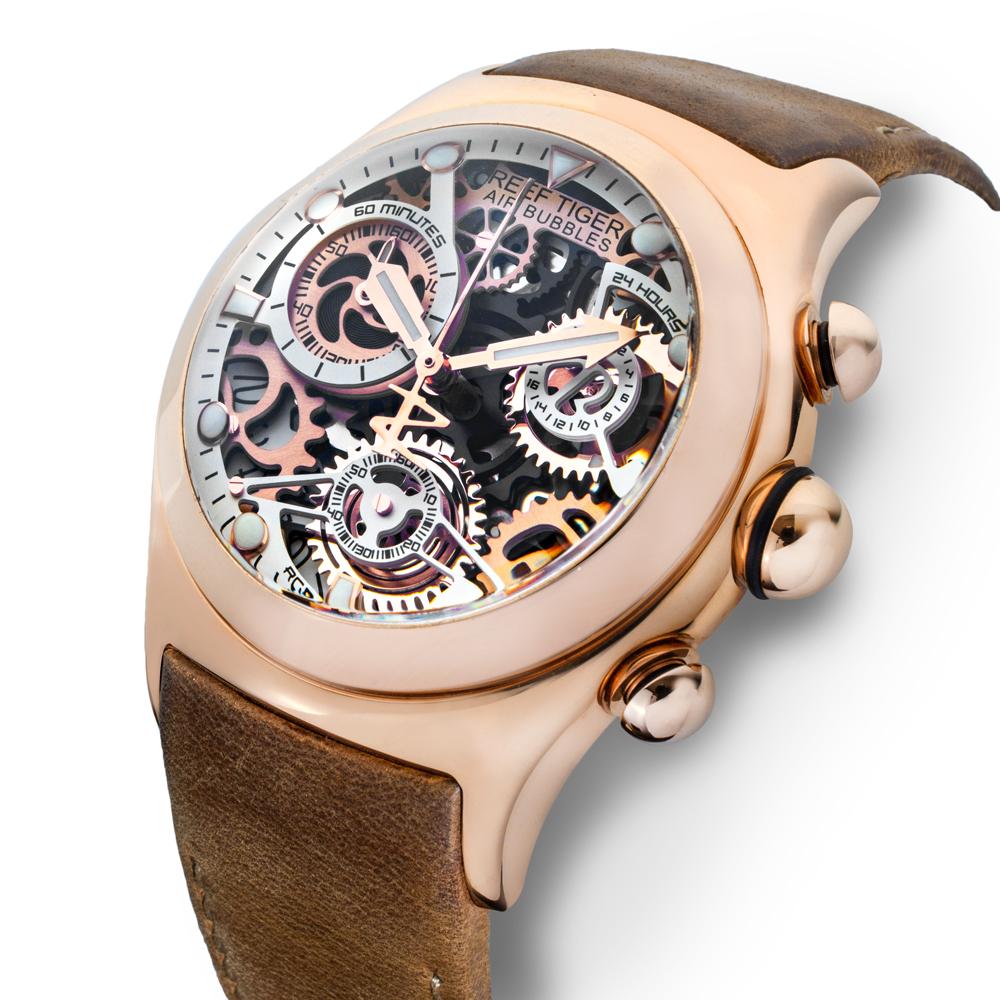 【REEF TIGER】 クォーツ式のスケルトン腕時計 リーフタイガーRGA792PWS